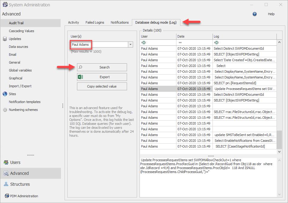 System Administration - Database Debug Mode