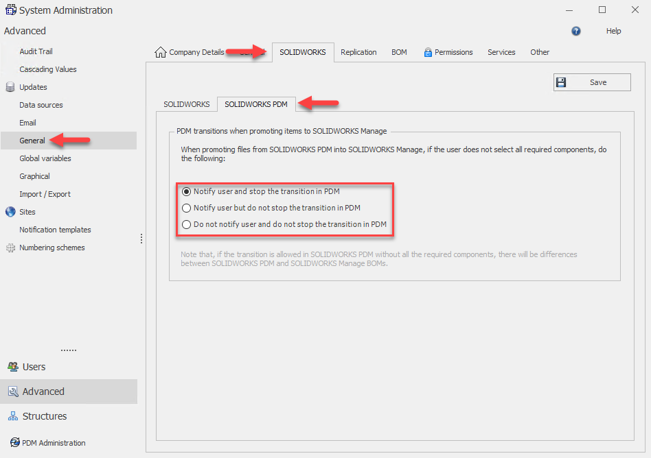 PDM File Promotion Settings