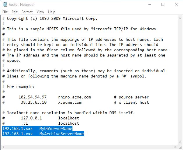 SOLIDWORKS PDM Hosts File