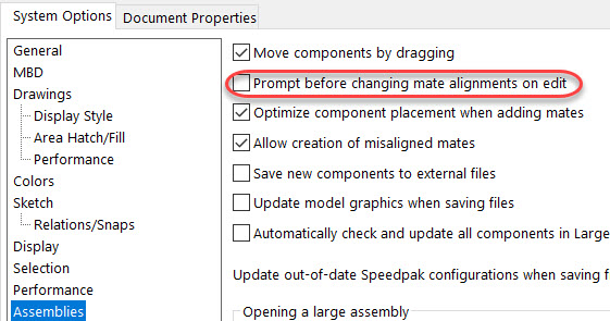 SOLIDWORKS Change Mate Alignments