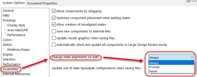 SOLIDWORKS 2021 settings option