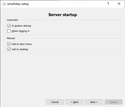 emailrelay Server Startup