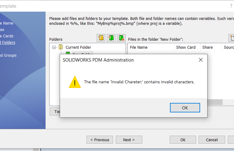Could not create folder. Cause: The file/key name was invalid