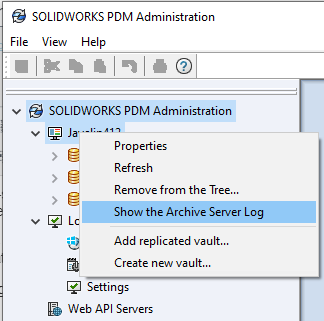Accessing the SOLIDWORKS PDM Archive Server Log