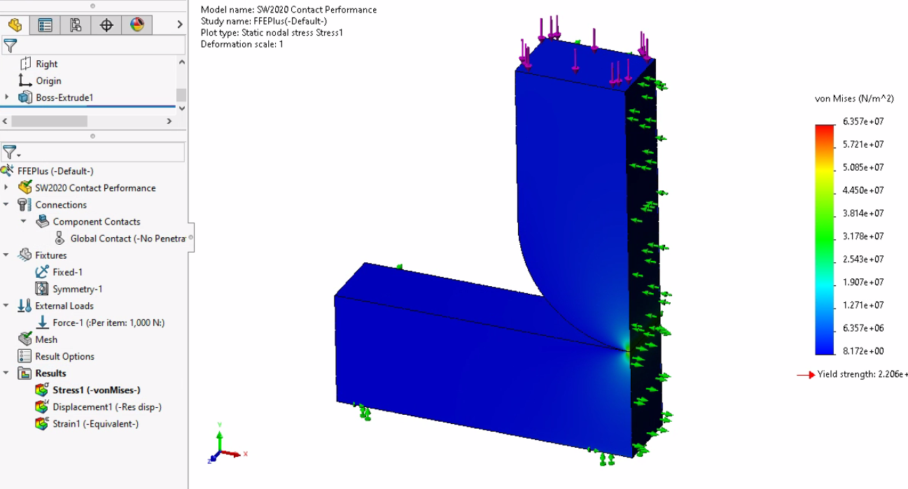 SOLIDWORKS Simulation in Contact