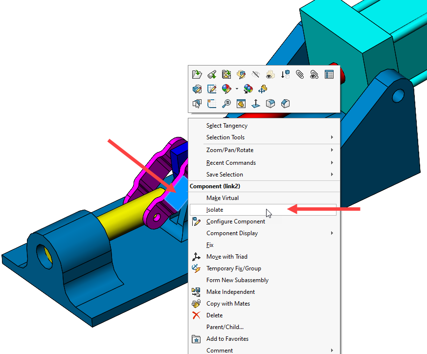 SOLIDWORKS Simulation Isolate