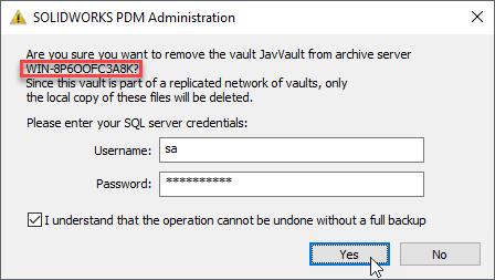 Remove Replicated Archive - SQL Credentials