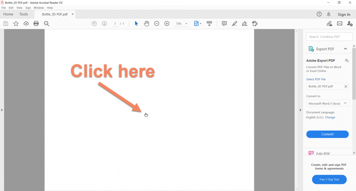 SOLIDWORKS- 3D PDF- Click Center of the PDF