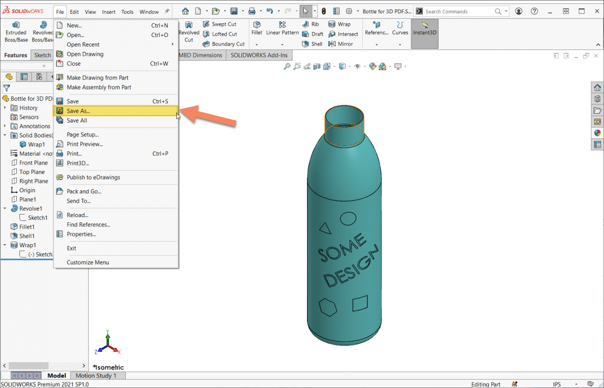 SOLIDWORKS Save As