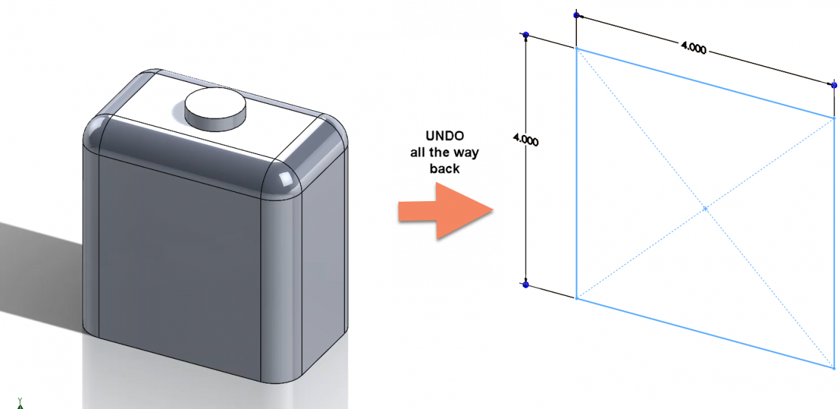 SOLIDWORKS Undo Back to Sketch