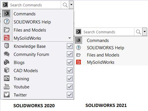 SOLIDWORKS Search bar comparison