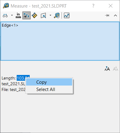 Copy numerical values from Measure Tool