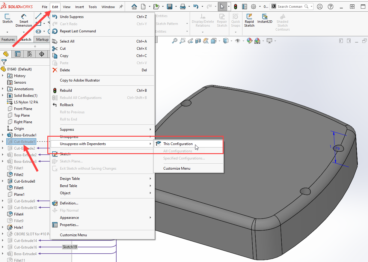 SOLIDWORKS Unsuppress with Dependents