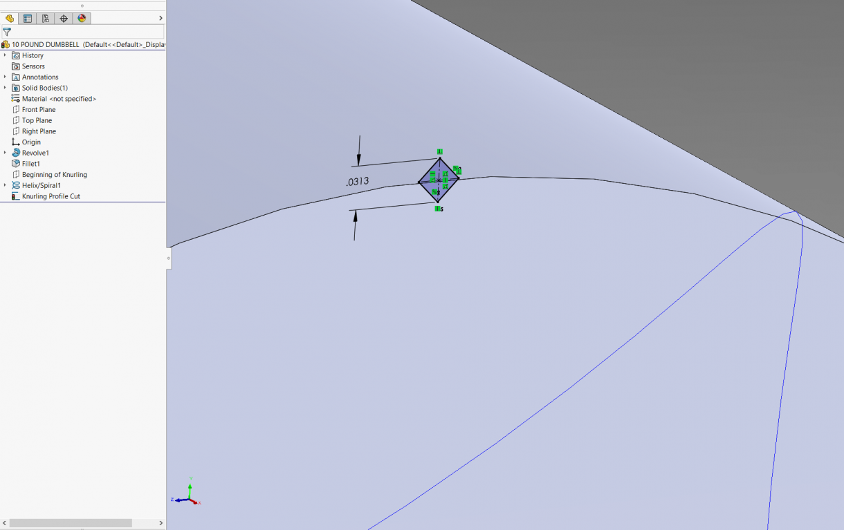 Make sure to fully define the sketch with coincident relations to the handle profile.