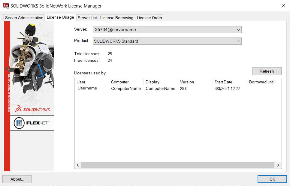 SolidNetWork License Usage