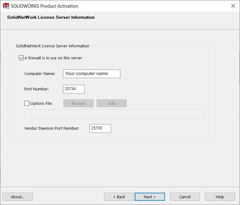 SolidNetWorks License Server Information