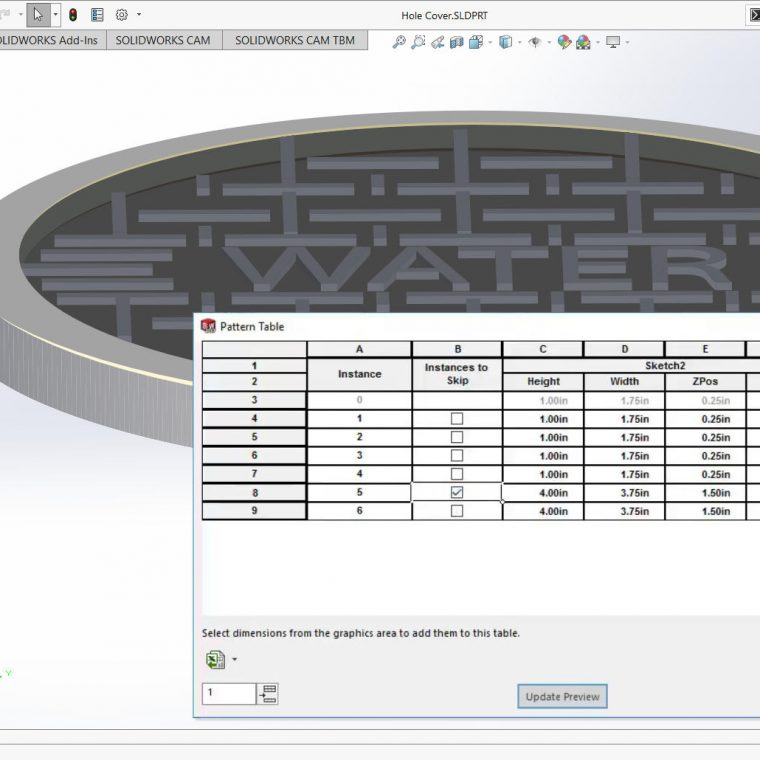 SOLIDWORKS Variable Pattern