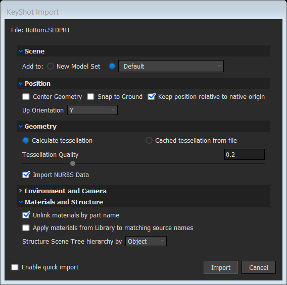 KeyShot import settings
