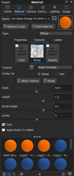 Material tab in KeyShot used to apply texture