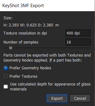 3MF file export settings for 3D printing colour
