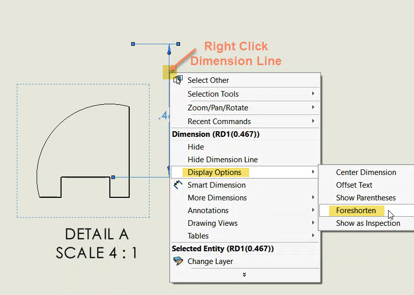 Right Click Dimension Line and see Foreshorten Option