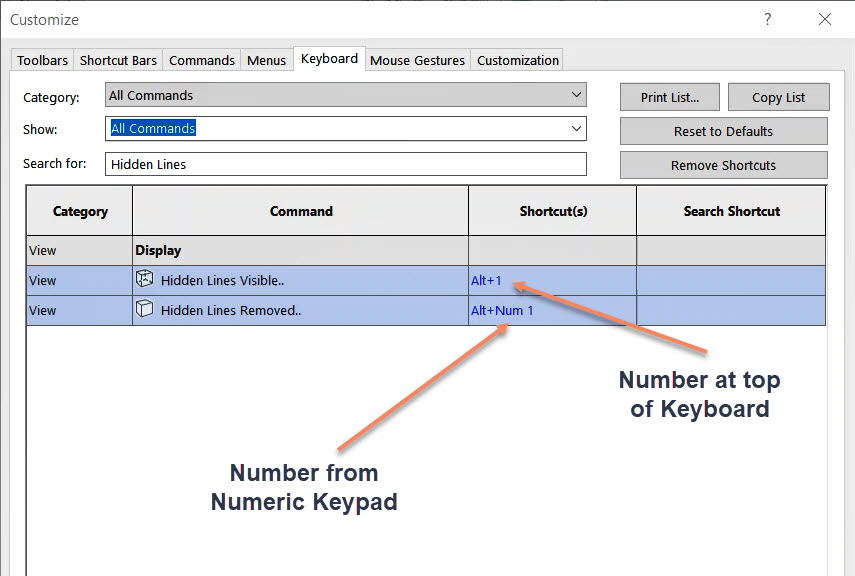 Shortcut Syntax: Top of Keyboard Numbers vs Numeric Keypad Numbers