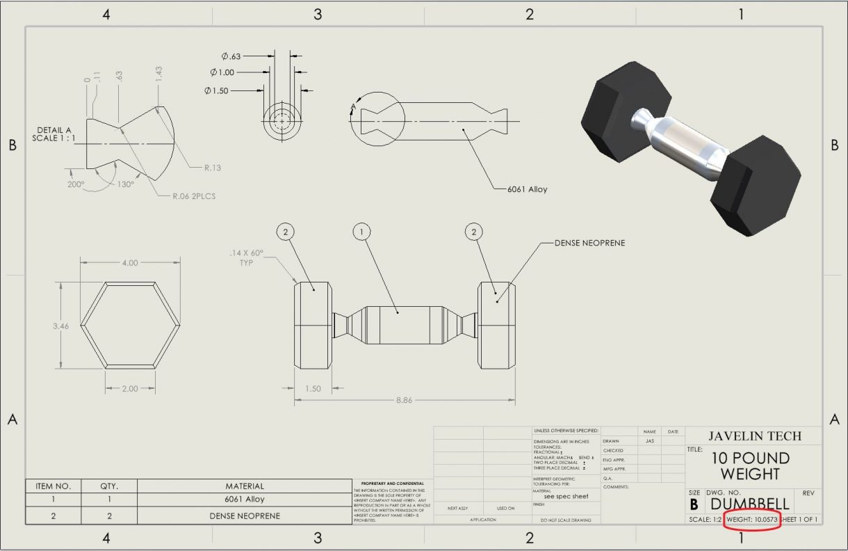 SOLIDWORKS Drawing with weight noted in title block