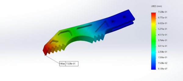 Initial gripper design FEA analysis