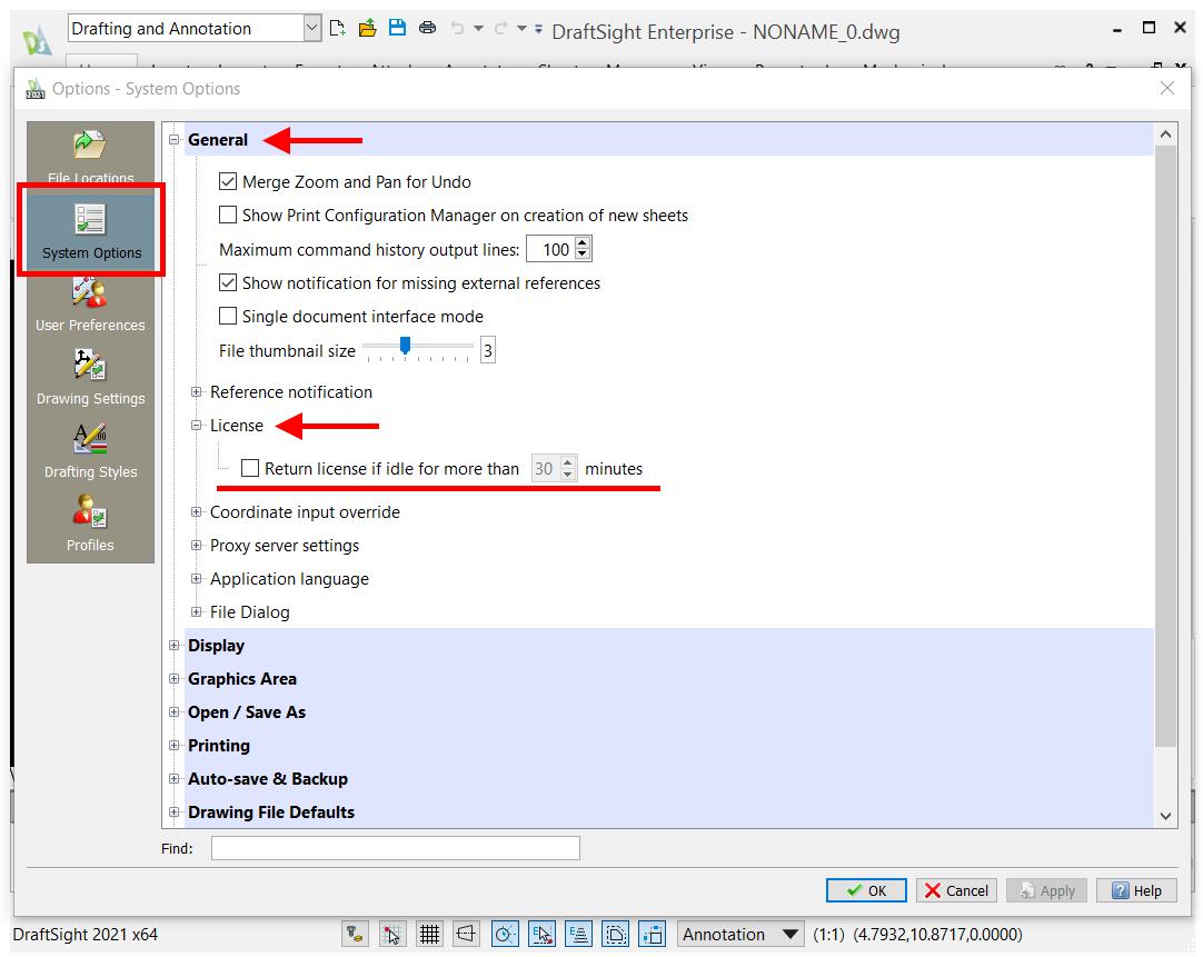 DraftSight Enterprise License Timeout Option