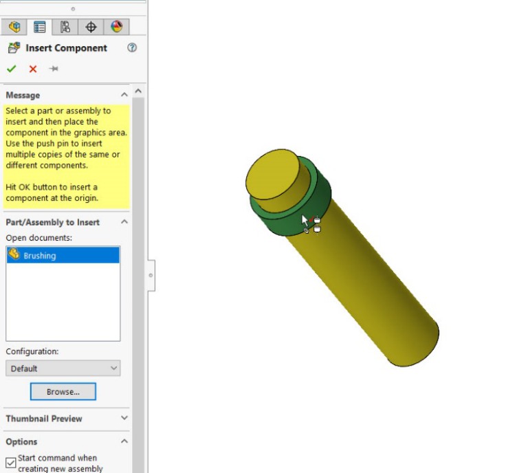 SOLIDWORKS Smart Component Auto Size Editing