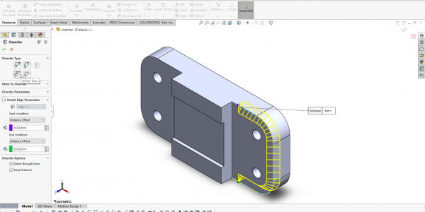 2- creating a partial chamfer