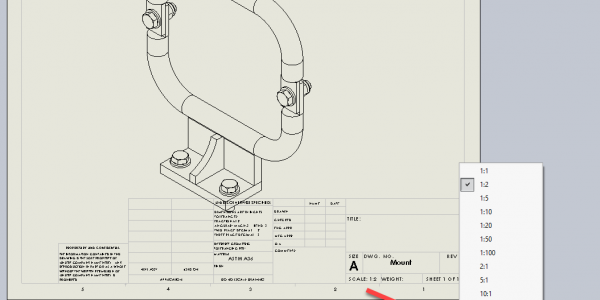 SOLIDWORKS 2019 Drawing Sheet Scale
