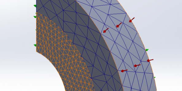 SOLIDWORKS Simulation 2021 Geometry Corrections for Curved Surfaces in Contact