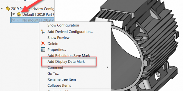 SOLIDWORKS 2019 Display Mark for Part Configurations