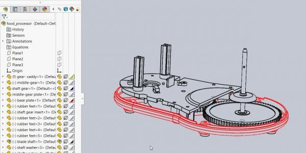 Assembly in Wireframe Mode