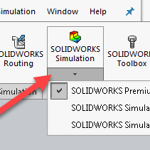 SOLIDWORKS Simulation 2020 License Selection