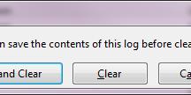 Clear log options