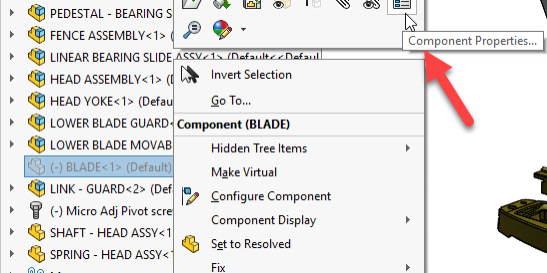 SOLIDWORKS Component Properties Tool