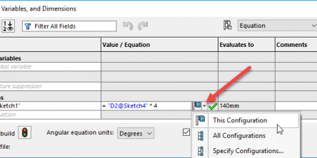 SOLIDWORKS Configure Equations
