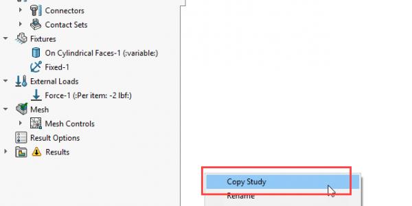 SOLIDWORKS Simulation Copy Features