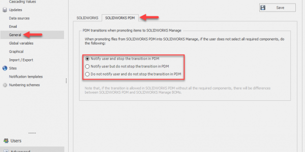 PDM File Promotion Settings