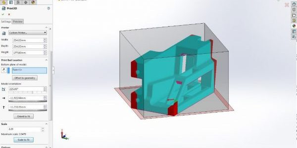 Figure 1: Scale – Note the red parts of the model do not fit in the build envelope. To quickly fit the part, see the 'Maximum Scale' value to quickly scale to fit the envelope. Hit scale to fit and you're good to go!