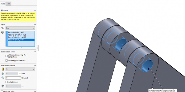 SOLIDWORKS Simulation 2019 Nonlinear Pin Connector