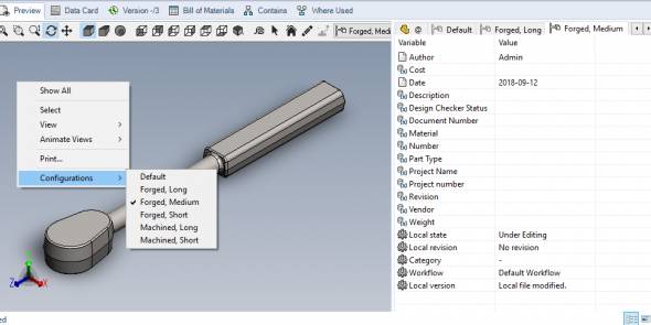 SOLIDWORKS PDM Configuration Preview