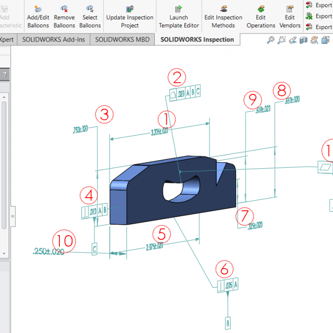 Add Inspection Balloons to SOLIDWORKS Parts and Assemblies
