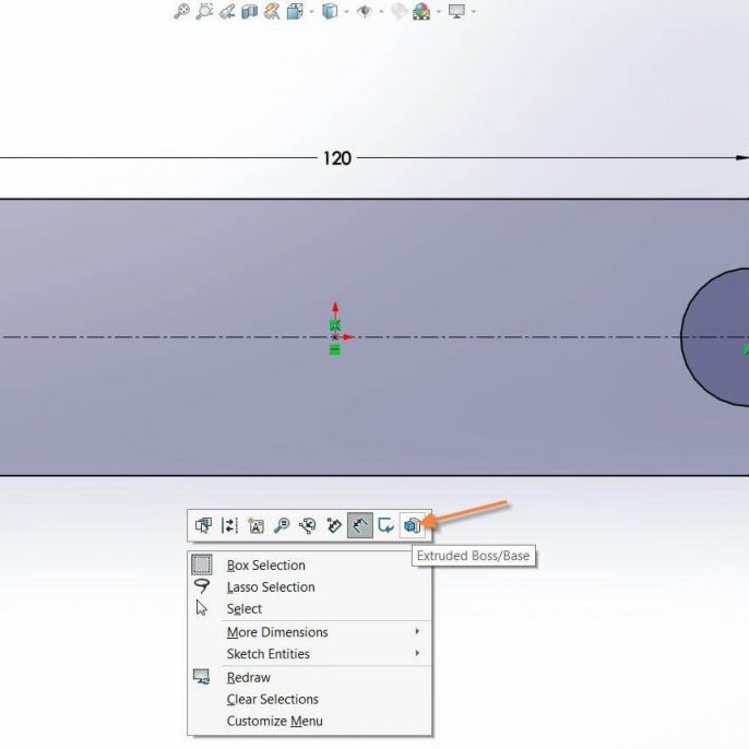 SOLIDWORKS 2017 - New Extrude Context Toolbar Button