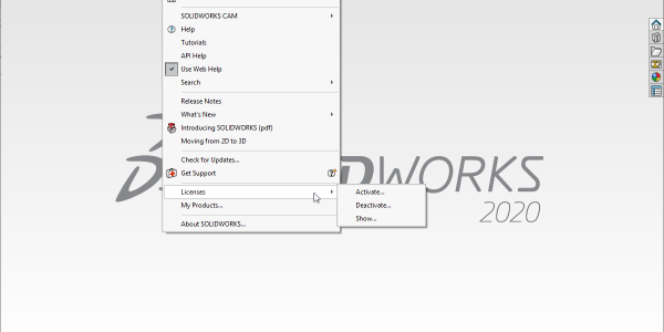 SOLIDWORKS 2020 Deactivate Licenses