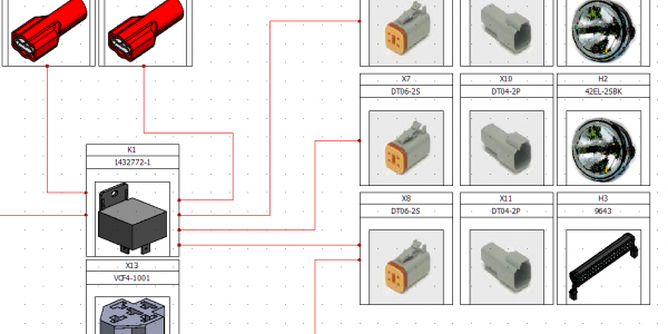Electrical and mechanical components can be added to a connection overview