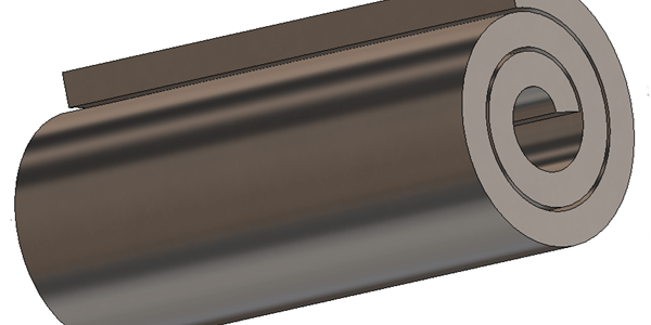 Third Phase in creating a Rolled sheet metal component within SolidWorks.
