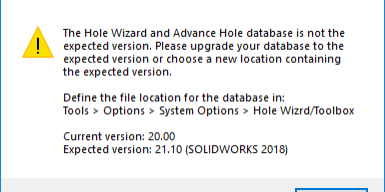 SOLIDWORKS Hole Wizard/Toolbox Warning